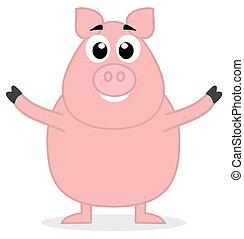 stehende , groß, offenen armen, schwein
