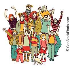 stehende , gruppe, familie, groß, isolieren, white., glücklich