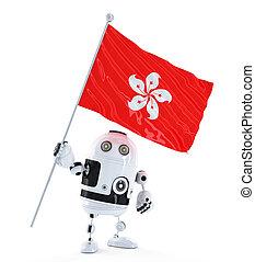 stehende , hong, kong., roboter, fahne, android
