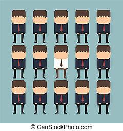 stehende , individualität, begriff, crowd, person, heraus