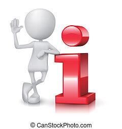 stehende , informationen, person, klein, 3d, ikone