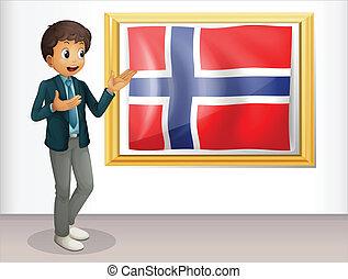 stehende , junge, fahne, neben, norwegen