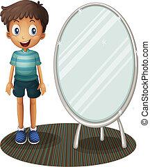 stehende , junge, neben, spiegel
