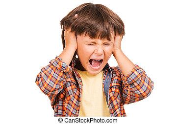 stehende , junge, wenig, frustriert, boy., freigestellt, schreien, während, halten hände, wütend, weißes, kopf