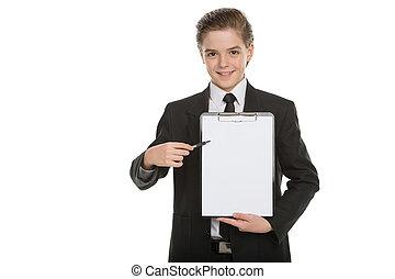 stehende , junge, wenig, zeigen, clipboard., freigestellt, formalwear, ihm, heiter, während, klemmbrett, besitz, geschäftsmann, weißes