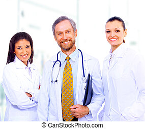 stehende , kollegen, gruppe, klinikum, zusammen, porträt, lächeln