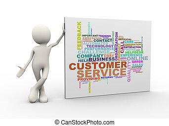 stehende, Kunde, Wort,  service, Etikette,  wordcloud, Mann,  3D