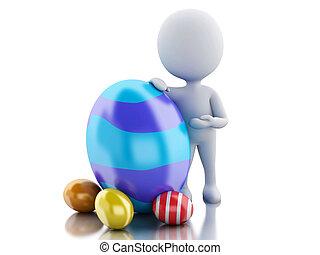 stehende , leute, nächste, egg., weißes, ostern, 3d