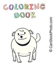 stehende , lustiges, bulldog., character., freigestellt, abbildung, hund, färbung, vektor, book., lächeln, style., kontur, karikatur