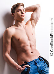 stehende , mann, besitz, wand, junger, muskulös, grau, ...