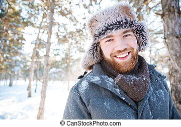 stehende , mann, park, winter, glücklich