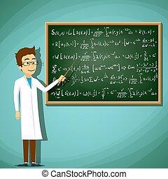 stehende , mantel, mathematica, labor, nächste, chalkboard., weißes, mann