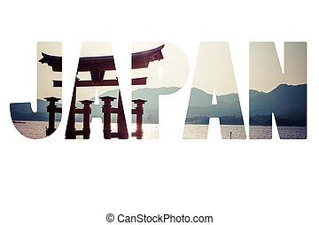 stehende , miyajima, groß, wasserlandschaft, berühmt, torii, shinto, japan, hiroshima