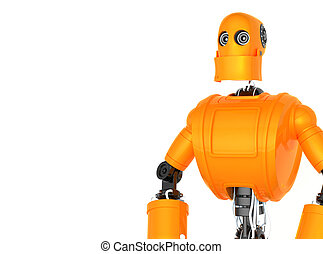 stehende , orange, roboter
