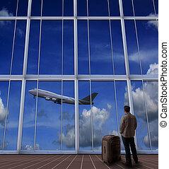 stehende , passagier, aus, groß, startbahn, luft, schauen, flughafen, eben, nehmen, koffer