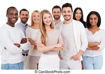 stehende , personengruppe, positiv, team., gegen, beiläufig,...