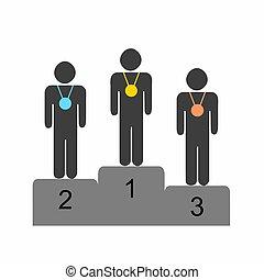 stehende , podium, gewinner, athleten, vektor