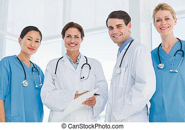 stehende , porträt, gruppieren zusammen, doktoren