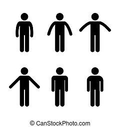 stehende , position, mann, verschieden, leute