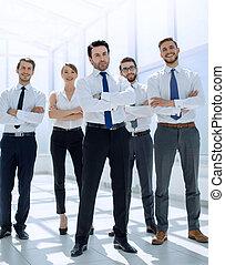 stehende , professionell, firma, angestellte, zusammen