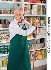 stehende, regale, Supermarkt, gegen, Eigentümer, Älter, Mann