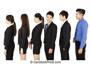 stehende , reihe, gruppe, geschäftsmenschen