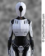 stehende , robot., übertragung, weibliche , android, 3d