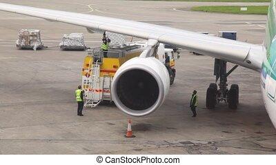 stehende , service, flugplatz, mannschaft, kraftstoff, ...