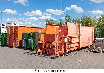 stehende , sie, compactors, fabrik, nächste, orange, andere,...