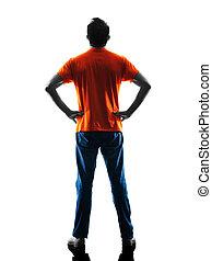 stehende , silhouette, freigestellt, mann, hintere ansicht