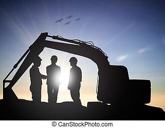stehende , silhouette, masten, ingenieur, erfolgreich, aus, arbeit, verwischt, baugewerbe, vermessung, hochspannung, mann, prüfung, construction., kontrolle