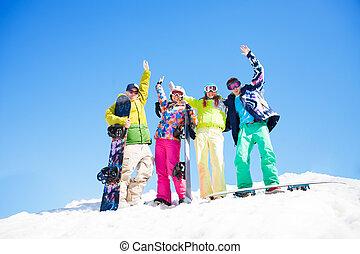 stehende , snowboards, friends, schnee, vier