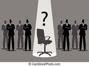 stehende , spotlighted, mitte, geschäftsmänner, stuhl, leerer