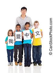 stehende , studenten, gruppe, lehrer, chinesisches