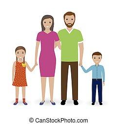stehende , töchterchen, familie, leute, freigestellt, sohn, hintergrund., vater, mutter, weißes, zusammen.
