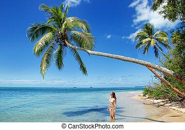 stehende , tonga, frau, insel, baum, junger, bikini, makaha'a, handfläche, unter, tongatapu