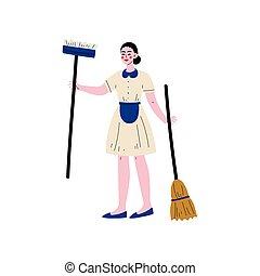 stehende , tragen, besen, wischmop, zeichen, abbildung, uniform, mädchen, vektor, putzfrau