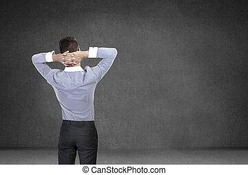 stehende, Wand,  Front, geschäftsmann, Rückseite, Ansicht