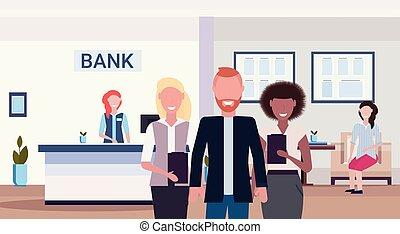 stehende , wohnung, kollegen, manager, buero, mischling, modern, zusammen, bankwesen, rennen, inneneinrichtung, lächeln, horizontal, bank