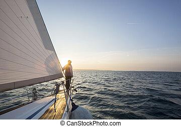 stehende , yacht, luxus, see front, mann