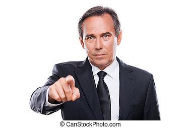 stehende , you., wählen, fällig, zeigen, formalwear, schauen, sicher, während, fotoapperat, gegen, hintergrund, porträt, geschäftsmann, sie, weißes, mann