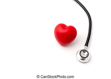 Stehoscope and Red Heart on White Background Copy Space