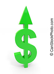 steht, dollar, auf, zeichen, grün, pfeil, weißes, surface.