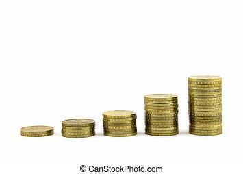 steigend, geldmünzen