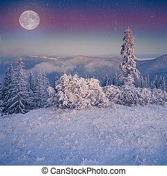 steigend, mond, aus, eisig, winter, berge.