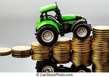 steigende kosten, in, landwirtschaft
