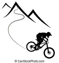steigung, berg, silhouette, --, fahren wettrennen rad