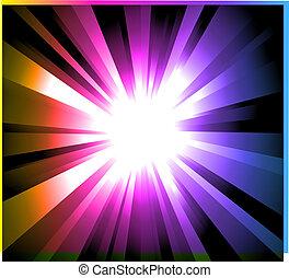 steigung, regenbogen, explosion, hintergrund, licht