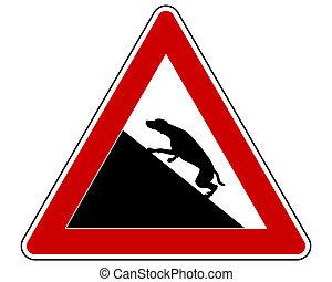 steigung, warnung, hunden, zeichen