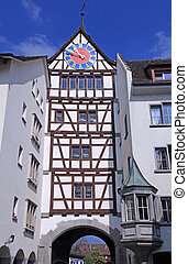 Stein am Rhein, Switzerland - Medieval clock tower in Stein...